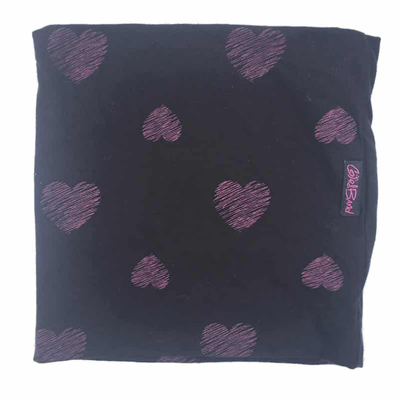 Pink Scribble Hearts On Black Band